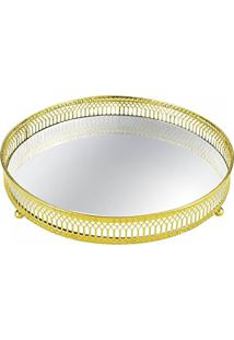 Bandeja Em Metal Com Espelho, Moas, Dourado, 6546