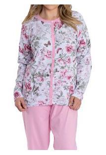 Pijama Longo Aberto Floral Kanto Dos Sonhos (1028) 100% Algodão