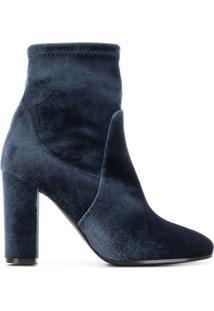Via Roma 15 Velvet Ankle Boots - Cinza