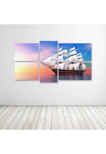 Quadro Decorativo - Ship Watercrafts Sea Ocean Boats Sky - Composto De 5 Quadros - Multicolorido - Dafiti