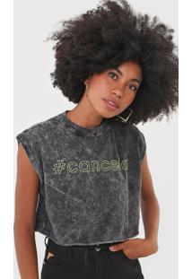 Camiseta Cropped Colcci Cancela Grafite - Kanui