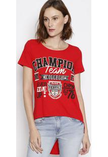 Camiseta Alongada ''Champion'' - Vermelha & Preta - My Favorite Things