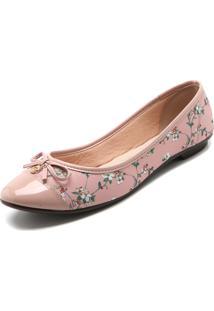 Sapatilha Moleca Flores Rosa