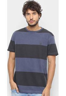 Camiseta Hang Loose Esp Blockstripe Masculina - Masculino-Marrom+Marinho