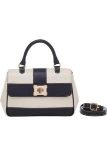 Bolsa Smartbag Couro Alça De Mão 73037.18 - Feminino-Creme