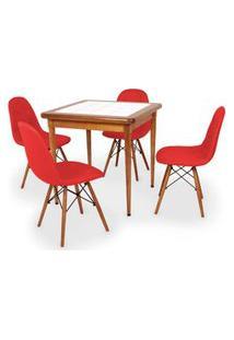 Conjunto Mesa De Jantar Em Madeira Imbuia Com Azulejo + 4 Cadeiras Botonê - Vermelho