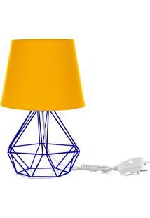 Abajur Diamante Dome Amarelo Com Aramado Azul - Amarelo - Dafiti