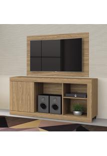 Rack Com Painel Para Tv Malaga Living 4004036 Nogueira - Mobler