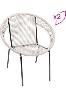 Jogo De Cadeiras Cancun- Fendi & Preto- 2Pã§S- Oror Design