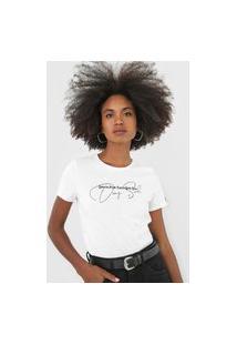 Camiseta Cropped Dimy Lettering Branca