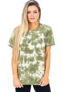 Camiseta Energia Natural Tie Dye - Unissex-Verde+Branco