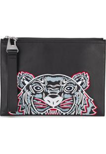 Kenzo Tiger Embroidered Clutch - Preto
