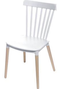 Cadeira Jana Polipropileno Cor Branco Base Madeira - 53519 Sun House