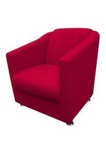Poltrona Decorativa Tilla Pés Cromado Suede Vermelho - Ds Móveis