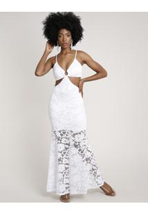 Vestido Feminino Longo Em Renda Com Vazado E Argola Alça Fina Branco