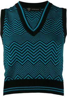 Versace Blusa De Tricô Sem Mangas - Azul