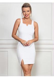 Vestido Branco Com Decote Quadrado