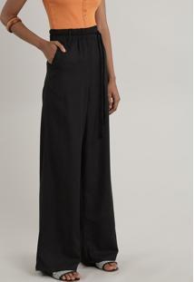 Calça Feminina Pantalona Com Linho E Cordão Preta