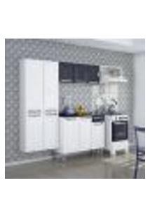 Cozinha Compacta Rose I 10 Pt 1 Gv Branca E Preta