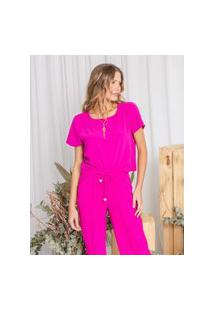 Blusa Cropped Agatha Pink-G Incolor