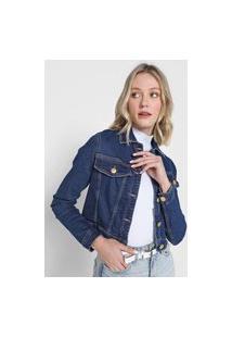 Jaqueta Jeans Lança Perfume Pespontos Azul