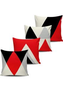 Kit 4 Capas Almofadas Geometrica Vermelha E Preto 45X45Cm - Tricae