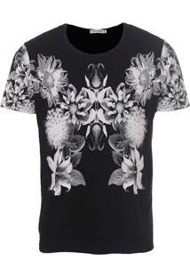 Camiseta Floral Masculina Metropolitan - Preto