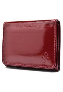 Carteira De Couro Menor Hendy Bag Vermelho Fechado Verniz Sem Plastico