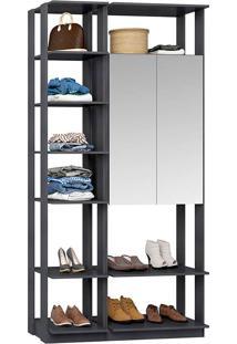 Closet Modulado 1 Armário C/ Espelho Clothes 9007 – Be Mobliário - Espresso