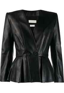 Alexander Mcqueen Fitted Wrap-Over Jacket - Preto