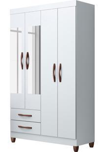 Guarda-Roupa Âmbar 4 Portas Com Espelhos E 2 Gavetas Externas Quadriflex Albatroz