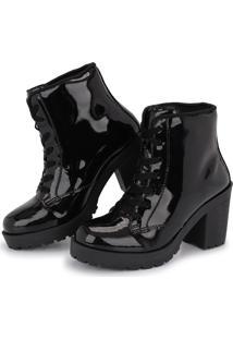 Bota Tratorada Cano Baixo Cr Shoes Salto Verniz 1700L Preto