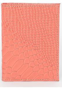 Carteira Em Couro Com Pespontos- Coral- 12,5X9X1Cm