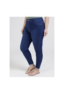 Calça Jeans Cigarrete Sawary Plus Size Feminina Azul