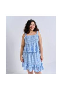Regata Com Lastex Estampa Vichy Curve E Plus Size Azul