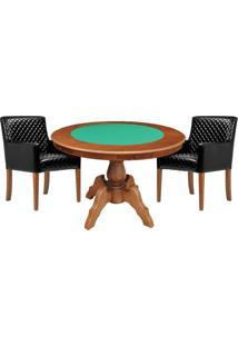 Mesa De Jogos Carteado Redonda Montreal Tampo Reversível Amêndoa Com 2 Cadeiras Liverpool Corino Preto Matelassê - Gran Belo