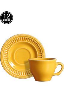 Conjunto 6 Xícaras De Café Poppy Amarelo Scalla