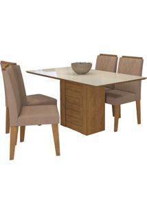 Sala De Jantar Rafaela 130 Cm Com 4 Cadeiras Savana/Off White Pluma