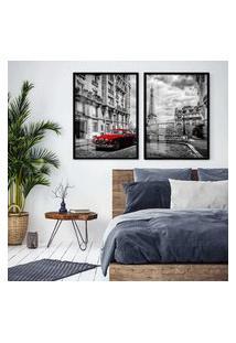 Quadro 65X90Cm Paris França Preto Branco Carro Vermelho Moldura Preta E Vidro