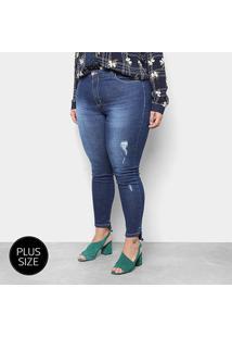 Calça Jeans Skinny Razon Estonada Cintura Média Plus Size Feminina - Feminino