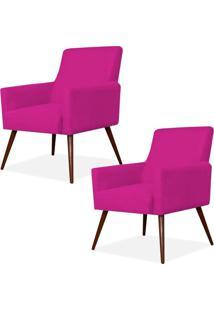 Kit 02 Poltronas Decorativas Lymdecor Maria Suede Pink