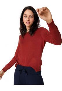 Amaro Feminino Suéter Oversize Decote U, Laranja