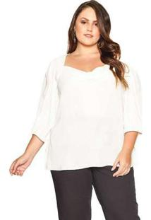 Blusa Almaria Plus Size Pianeta Crepe Off White