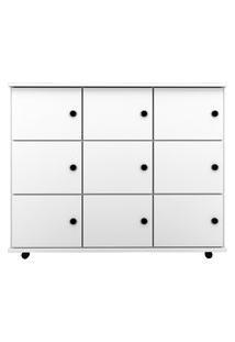 Nicho Multiuso Organizador Com Rodízios Amá 9 Portas Branco - Mpozenato