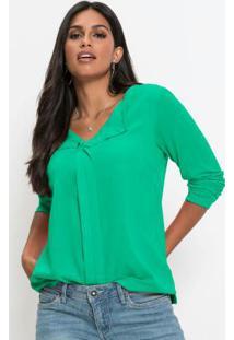 Blusa De Crepe Decote V Verde