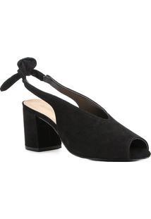Sandália Couro Shoestock Salto Bloco High Vamp Feminina - Feminino