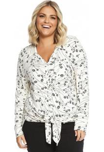 Blusa Alongada Feminina Secret Glam Bege