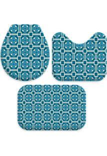 Jogo Tapate Love Decors Para Banheiro Quadrados Azul Único - Kanui