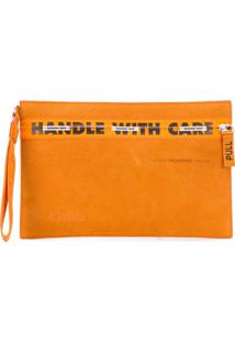 Heron Preston Bolsa Clutch 'Handle With Care' - Laranja