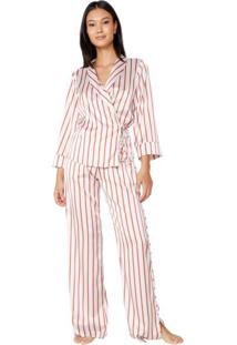 Pijama Cetim Com Blusa Transpassada